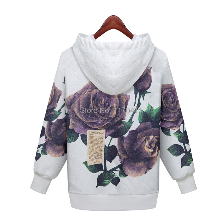 Free shipping AliExpress explosion models 2015 spring European style lotus women printed cotton hooded sweatershirts hedging(China (Mainland))