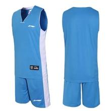 Men's Set sports shirt training Sleeveless basketball jersey suit Wear Reversible Basketball Clothes Suit Training Shirt+shorts(China (Mainland))