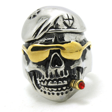 316L Stainless Steel Cool Punk Gothic Golden Pirate Skull Smoke Person Newest Ring(China (Mainland))