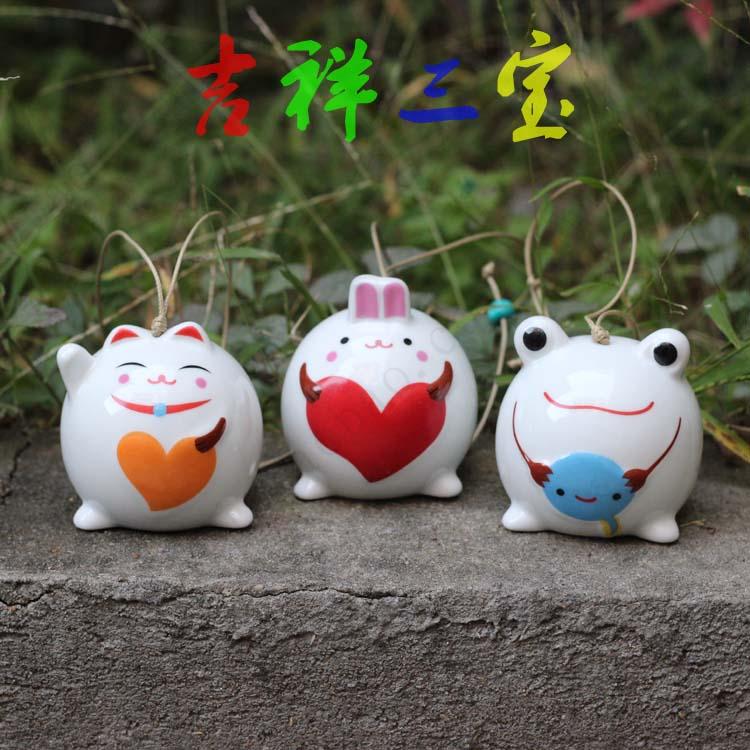 Triratna lucky ceramic wind chimes home accessories apotropaic accessories(China (Mainland))