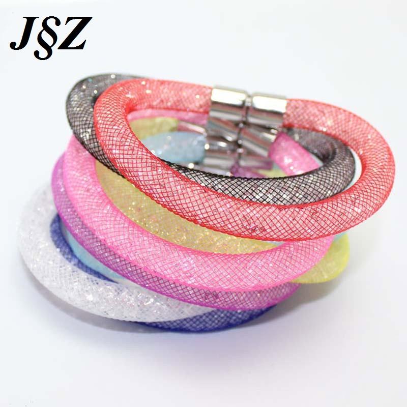 Гаджет  Women Mesh Stardust Magnetic Full Of Crystal Beads Bracelet 2015 New Arrival Jewelry Multicolor Friendship Bracelets & Bangles None Ювелирные изделия и часы