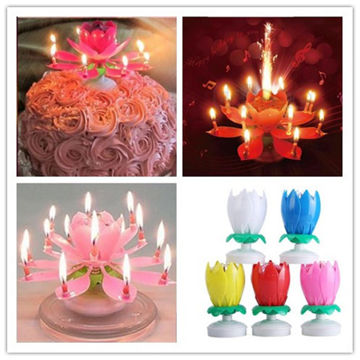 2015 New Amazing Romantic Musical Lotus Rotating Happy Birthday Candles Flower Decorative Candles For Cake JJ155(China (Mainland))
