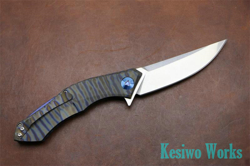 Buy KESIWO folding hunting knife titanium handle 59HRC D2 Blade camping outdoors survival tactical pocket knife bearing tools cheap