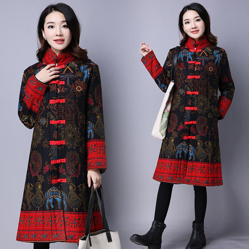 Chinese Style Cotton Coat Women Winter Long Coats Mandarin Collar Ethnic Clothing Print Down Coats Button Jackets Femme Overcoat