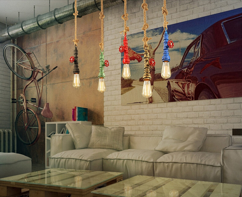 Horsten Loft Retro Industrial Vintage Steampunk Water Pipe Colorful Pendant Lamp E27 Hemp Rope Light For Bar Restaurant Dining Room (10)
