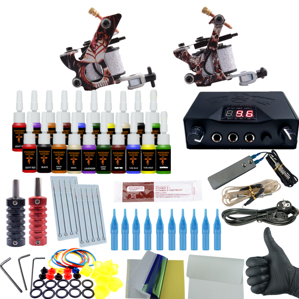 Professional Tattoo Kit 2 Tattoo Machines 6 Colors Ink Set Power Supply Box Beginner Body Art Supplies Needles Tips Kit(China (Mainland))