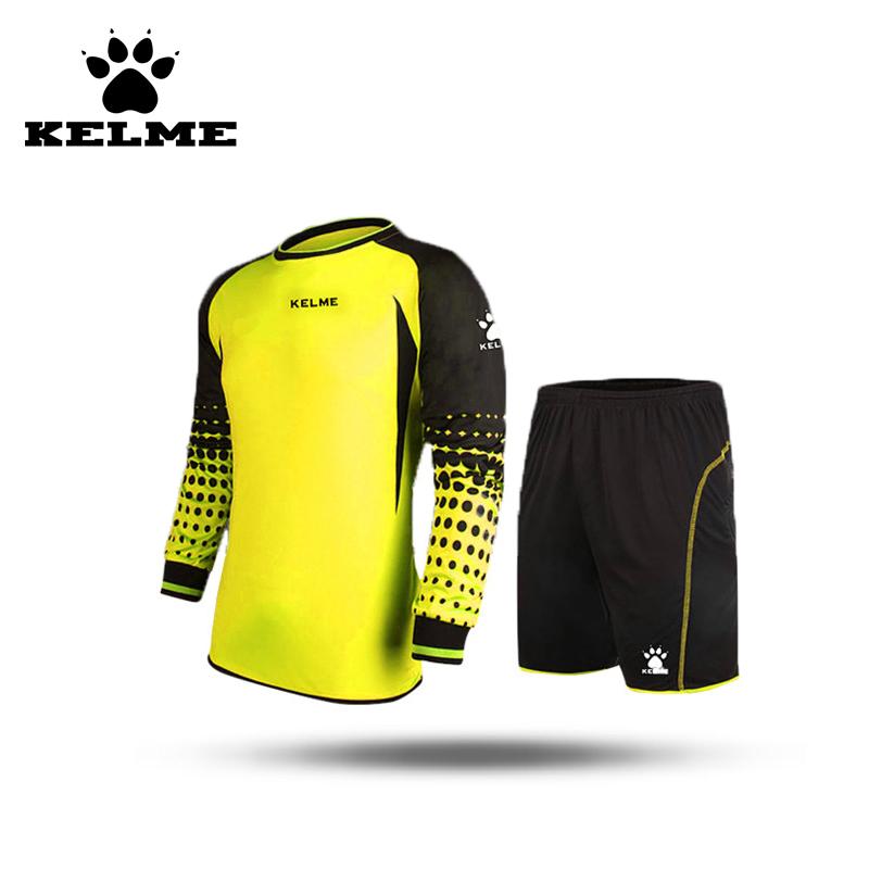 KELME Kids Soccer Spain Goalkeeper Jersey Uniform Boys Sponge Football Long Sleeve Goal Keeper Sets Shorts Goalie Jersey Kit 28(China (Mainland))