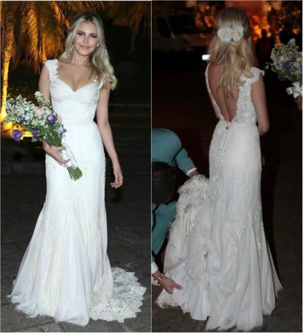 Sexy Backless Sheath Wedding Dresses 2016 Sleeveless Cap Sleeve ...