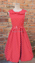 free shipping NEW VINTAGE STYLE 40'S 50'S AUDERY POLKA DOT SUMMER SWING DRESS – SIZES 8 -20Bestdress vestidos