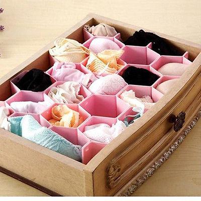 Free Shipping Honeycomb Drawer Closet Cabinet Sock Tie Clapboard Divider Storage Organizer Box A2909(China (Mainland))