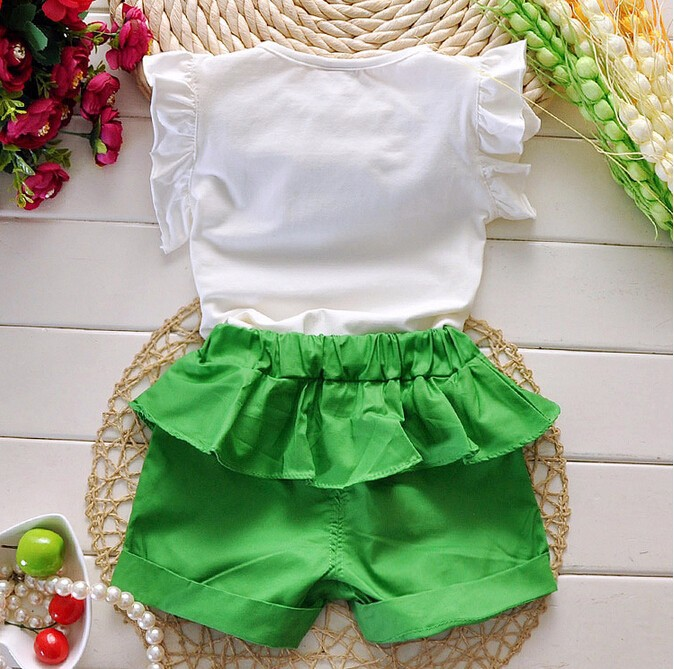 2015 New Hot Sale Girl Clothing Set Top and Pants For Baby Girl Summer Wear Children Clothing 2 Pcs With Belt Baby Clothes