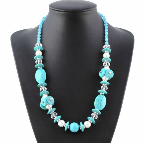 Turquoise colored beaded chain necklace fashion costume for Turquoise colored fashion jewelry