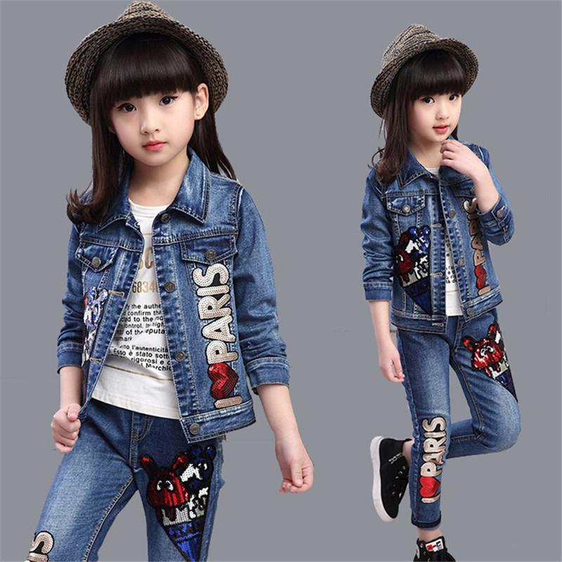2016 Autumn Winter Kids Clothes Cowboy Suit 2 pcs Girls Outfits Jeans Denim Clothing Children Set Years old Girl Clothes AA1167(China (Mainland))