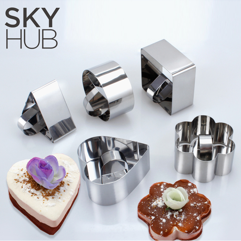 1 PC Round Heart Mousse Ring 5 Shapes To Choose Bakeware Stainless Steel Mousse Cake Mold Square Round Heart Shape Cake Mould