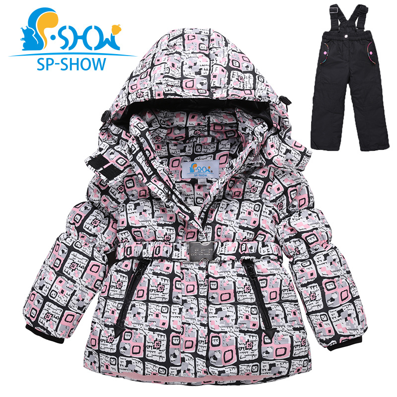 SP-SHOW 2017 New Winter children Girls Coat 3-7Age Kids Ski Suit Thick Warm fleece Two-Piece Girls Winter Jacket Down+Trousers(China (Mainland))