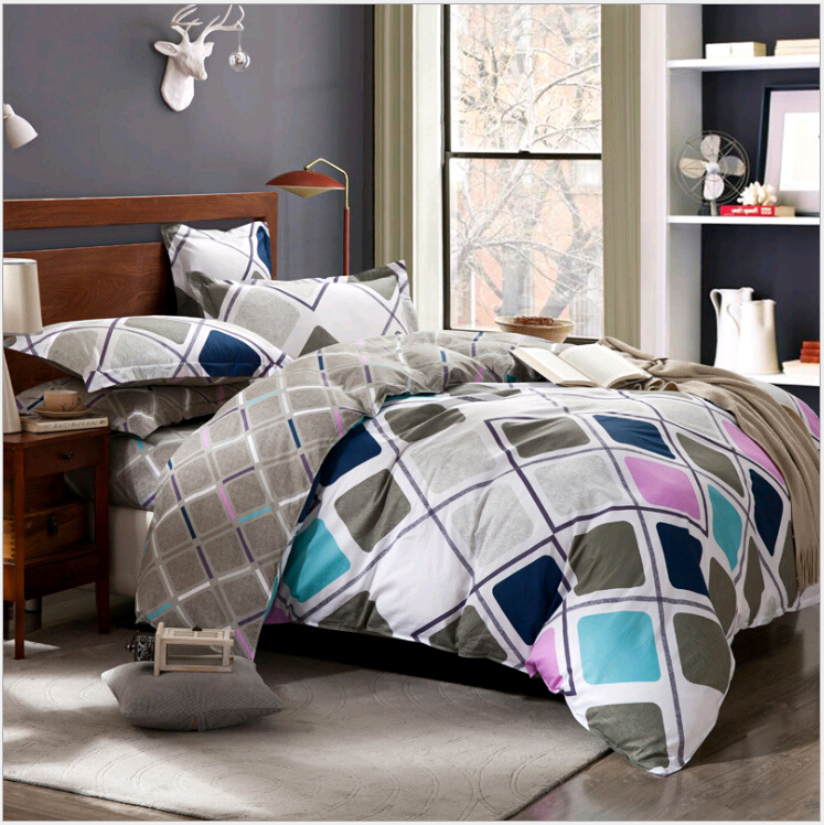 2015Modern Home Wedding Seven-piece Kit bedding american flag bedding bright color comforter sets cotton bed sheets Geometric(China (Mainland))