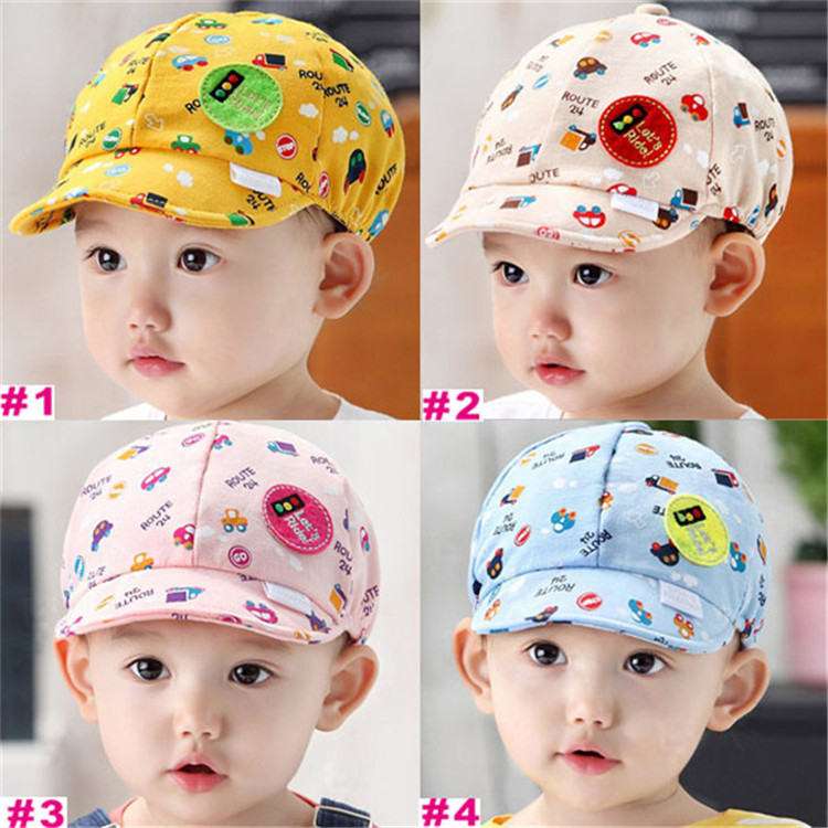 4colors baby Fashion baseball cap infant adjustable cartoon hat newborn Korean cartoon sunhat 5pcs/lot MZC-15075(China (Mainland))