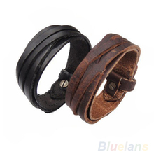 Men Women Unisex Multi thong braided thin Genuine Leather Bracelet wristband Jewelry Items