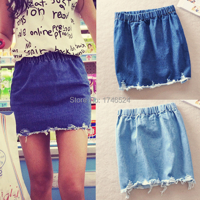 Spring Summer 2015 New Fashion Women Skirts Ripped Vintage Elastic Waist Denim Skirt Jeans High Waist Mini Short Skirts Womens(China (Mainland))