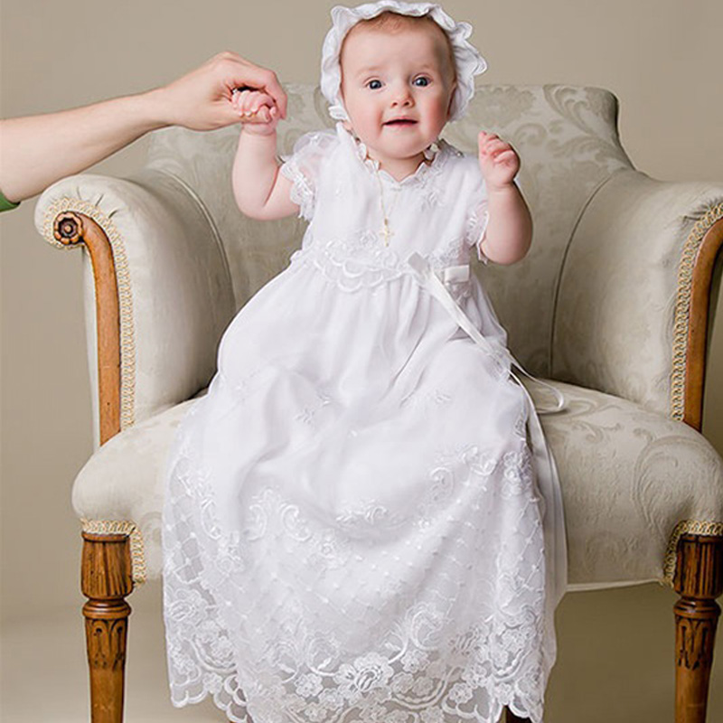 Baby Girl Fomal Christening Gowns White Short Sleeves A-Line Floor-Length Lace Christening Gowns With A Lovely Hat White 2015<br><br>Aliexpress