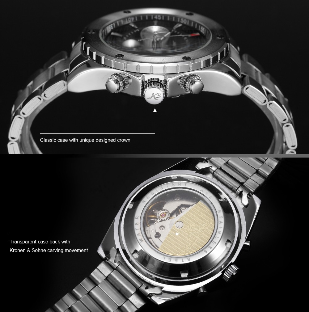 KS Analog Automatic Mechanical Date Day Display 6 Hands Stainless Steel Black Dial Sport Men Wrist Watch (Free Gift Box) / KS050