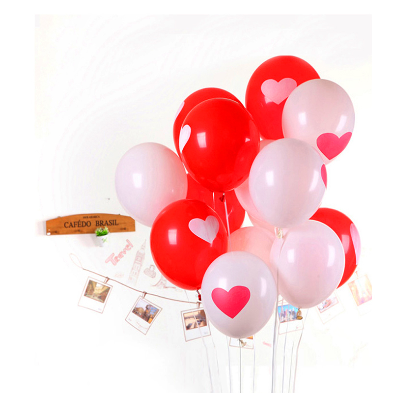 send random 10pcs/Lot 12inch 3.2g/Pc Latex Helium Ball Ballon Wedding Party Birthday Heart Pattern Mixed Color Balloon(China (Mainland))