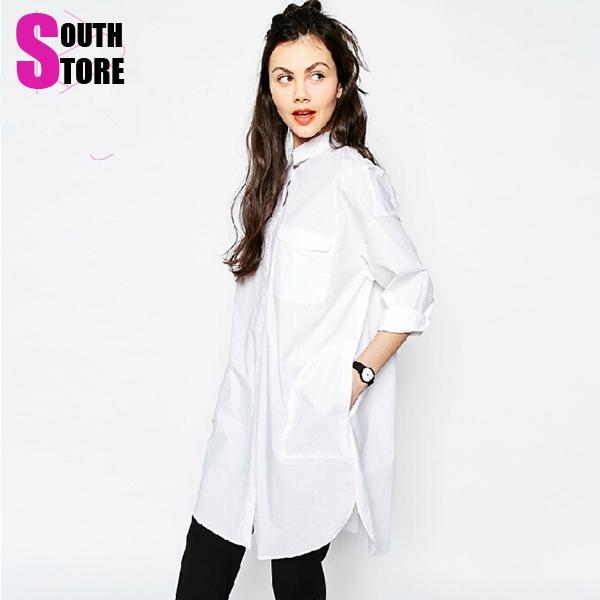 nouvelle mode 2015 blanc de printemps t boyfriend style punk femmes de chemise longue blouse. Black Bedroom Furniture Sets. Home Design Ideas