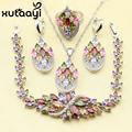 XUTAATI 4PCS 925 Sterling Silver Jewelry Set Flower Colorful Multicolor Stones Earrings Ring Necklace Pendant Bracelet