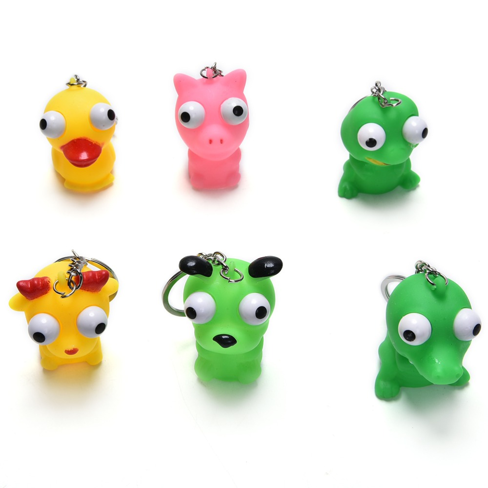 Funny Anti Stress Ball Animal Vent Toy Novelty Products Fun Antistress Extruding Big Raised Eyes Doll Keychain Squeezing Toys(China (Mainland))
