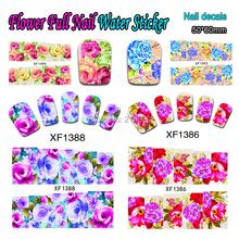 Nail Art 25Sheets/Lot Flower Full Nail Art Water Sticker Beauty Colorful Nail Water Transfer Sticker Decoration XF1372-1396