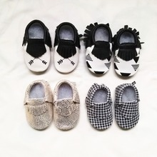 First Walkers Genuine Leather baby shoes Cupid Toddler Houndstooth Baby moccasins Fringe Shoes Free shipping(China (Mainland))