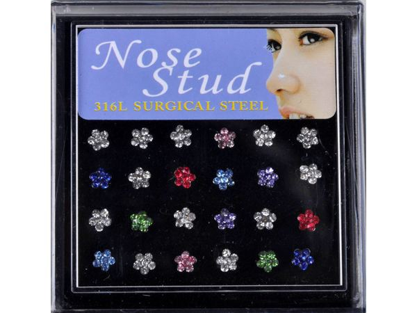 Chic Wholesale Body Jewelry 48pcs/lot Crystal Stainless Steel Flower Nose Stud Piercing + display Fashion Unisex Jewelry(China (Mainland))