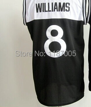 Hot selling Men's 100% Stitched #8 Deron Williams black-white basketball Jerseys Free Shipping(China (Mainland))