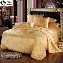 bedding set jacquard silk cotton series king queen size 4pcs duvet quilt bedlinen covers bedclothes luxury bedsheet bedclothes(China (Mainland))