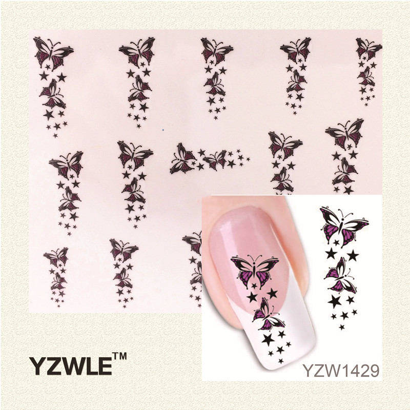YZWLE Trendy Colorful Butterfly Star Nail Tips Water Transfer Nail Stickers, Watermark Nail Decals Manicure Tools(China (Mainland))