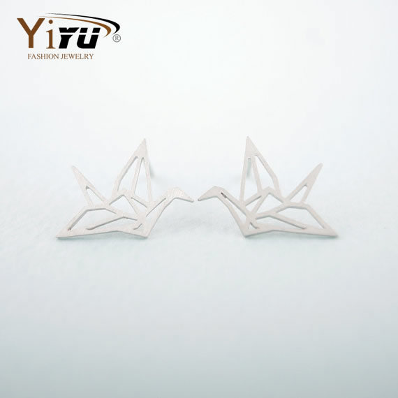 2015 Hot Sale 1pc Silver Stud Earrings Lovely Wild Origami Crane Silver Stud Earrings For Women Graceful Flying Blue Birds E037(China (Mainland))