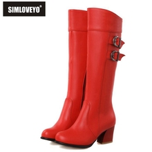 Plus size 30-52 New 2015 Autumn winter Women botas Middle heels Zipper Buckle Knee boots for women Fashion White Red Black Brown(China (Mainland))