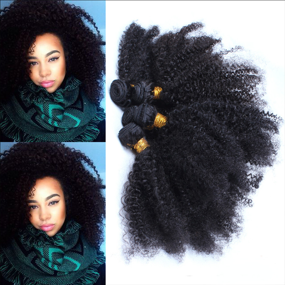 5A Afro Kinky Curly Hair Weave Extensions Mongolian Virgin Hair Kinky Curly 4~6pcs/lot Natural Black Hair Bundles Tight Curl