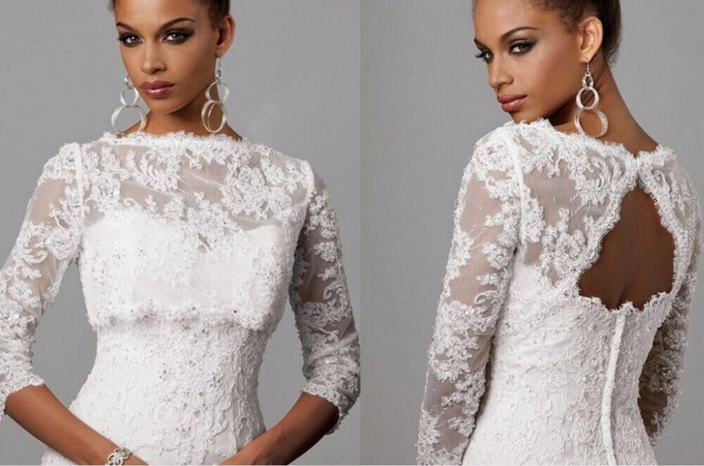 Lace bolero long sleeve wedding dress jacket bridal for Wedding dress long sleeve lace jacket