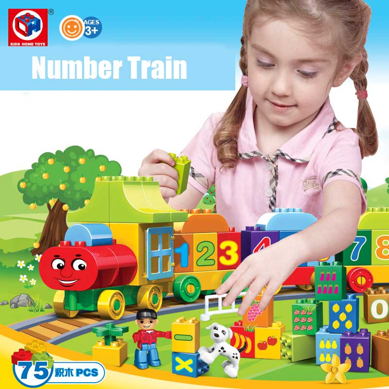 Kids Home Toy 75PCS Large Size My First Numbers Train Model Building Blocks Kids Educational Bricks Toy Compatible With Duplo(China (Mainland))