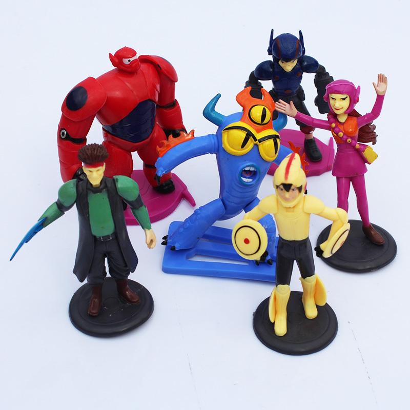Cartoon Movie Big Hero 6 Hiro Baymax Fred Go Go Tomago Honey lemon Toys PVC Action Figures 6pcs/set Free Shipping(China (Mainland))