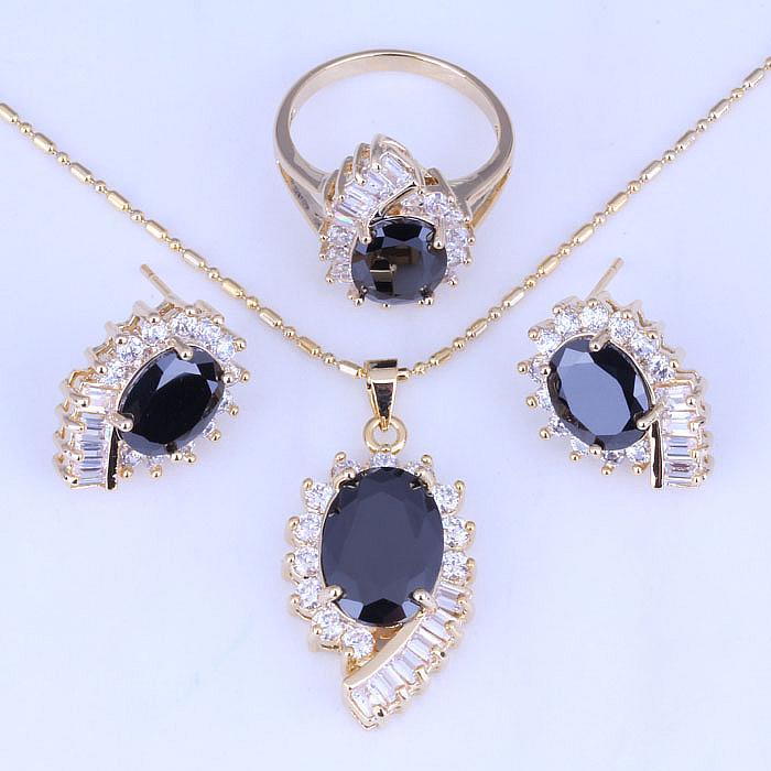 18k yellow gold plated black onyx cubic zirconia jewelry