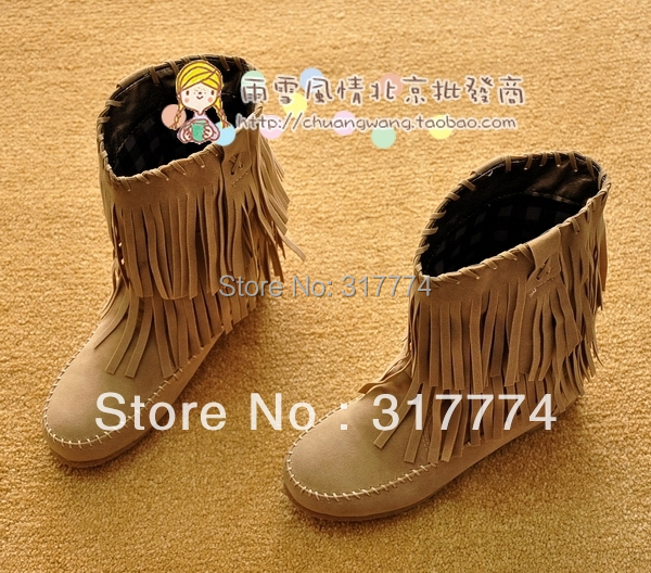 2013 hot Vivi summer fashion tassel  single  cow muscle outsole elevator medium-leg autumn boots size 35-40 6 color