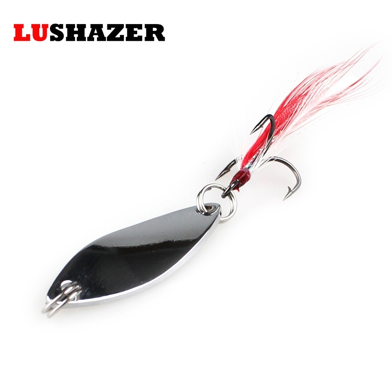 LUSHAZER metal fishing lure spoon spinner bait 6g 10g gold/silver 360 degree rotation fishing tackle China Hard Bait spinnerbait(China (Mainland))