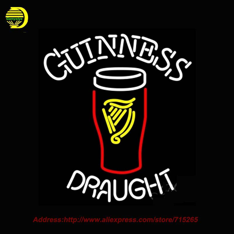 Neon Sign Guinness Draught 2 Glass Beer Light Real Glass Tube Neon Signs Handcrafted Recreation Room Iconic Sign Indoor 24x27(China (Mainland))