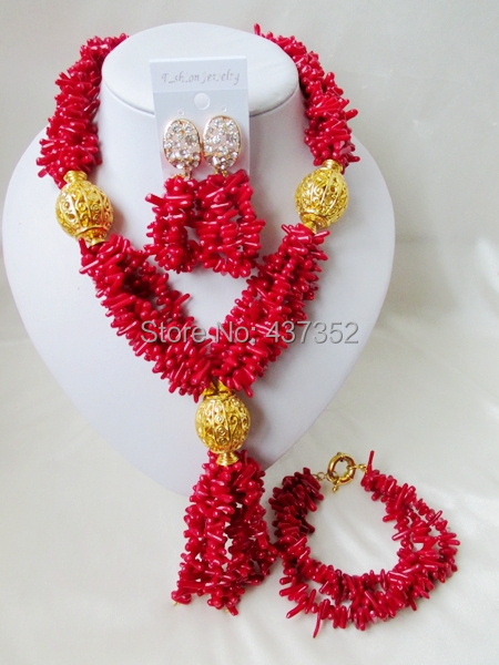 Romantic! Costume Red Coral Beads Necklaces Nigerian Wedding African Beads Jewelry Set TC200<br><br>Aliexpress