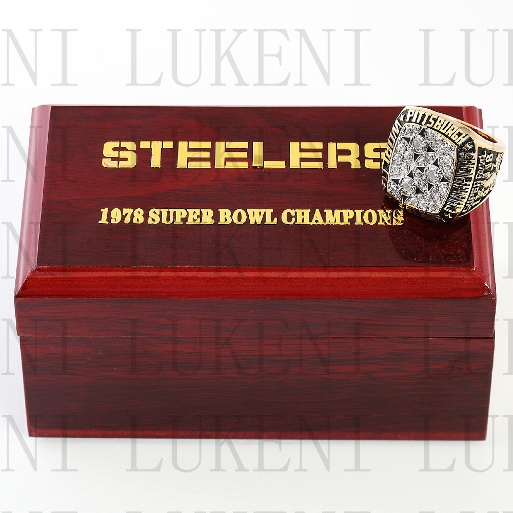 Replica 1978 Super Bowl XIII Pittsburgh Steelers Championship Ring Football Rings With High Quality Wooden Box Best Gift LUKENI(China (Mainland))