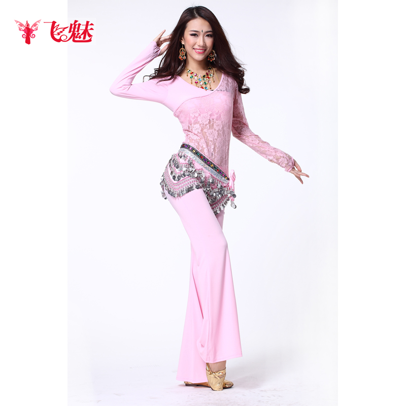 Silk All Code Women Violet Belly Dance Set Piece Oblique Lace Top Training Pants Diamond Chain(China (Mainland))