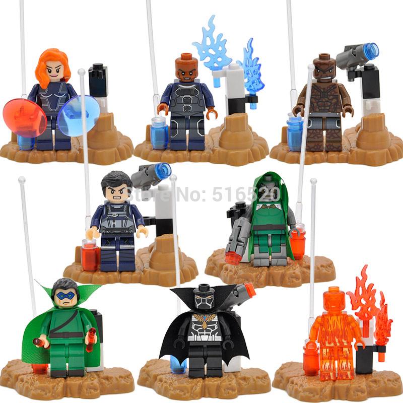 Fantastic Four Minifigures Building Blocks Thing Human Torch 8pcs lot Marvel Super Heroes Sets Models font