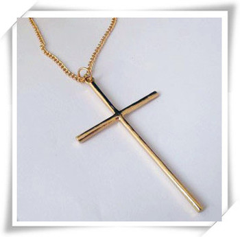 Fashion jewelry long chain metal cross pendant necklace  N711